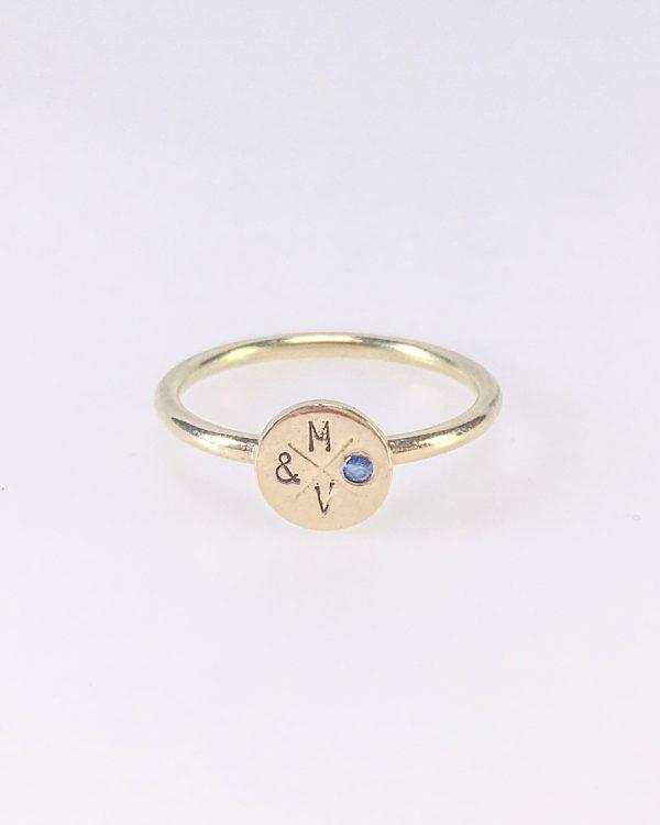 Ring Mara & Villosa met steentje - babyblauw